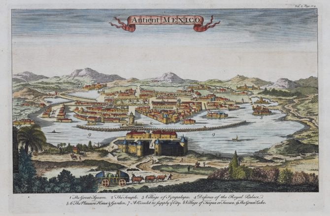 Old view of Ancient Mexico by Emanuel Bowen, 1764