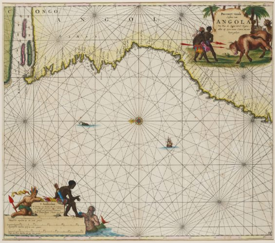 chart of the coast of Angola with the Zaire river, by van Keulen