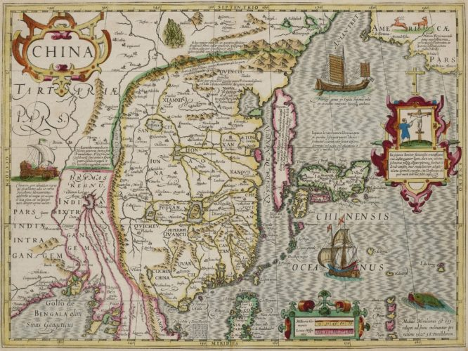 Old map of China by Hondius, 1633