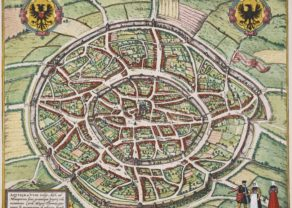 Old map of Aachen by Braun & Hogenberg, 1572