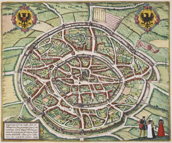 Old map of Aachen by Braun & Hogenberg, 1572