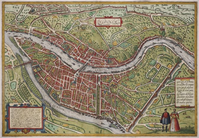 Old map of Lyon by Braun and Hogenberg, 1572