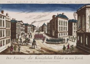 Optica print: entry of British troops in New York by Chereau