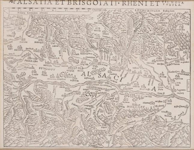 Old map of Alsace abd Breisgau by Münster, 1540