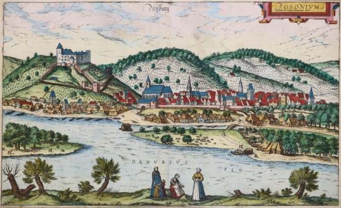 OLd map of Bratislava by Braun and Hogenberg, 1599