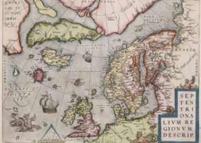 Old map of Northeast Atlantic by Ortelius, 1612