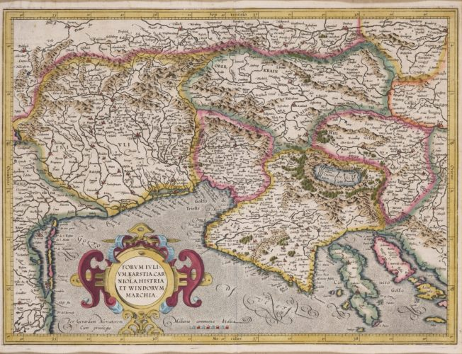 Old map Friuli by Mercator, published by Hondius, 1616
