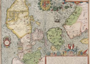 Old map of Denmark by Braun and Hogenberg (Civitates Orbis Terrarum)
