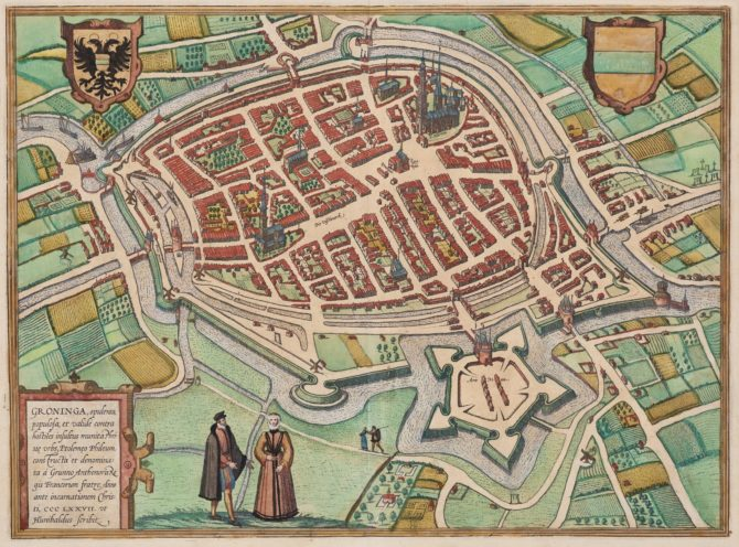old map of Groningen by Braun Hogenberg, 1575