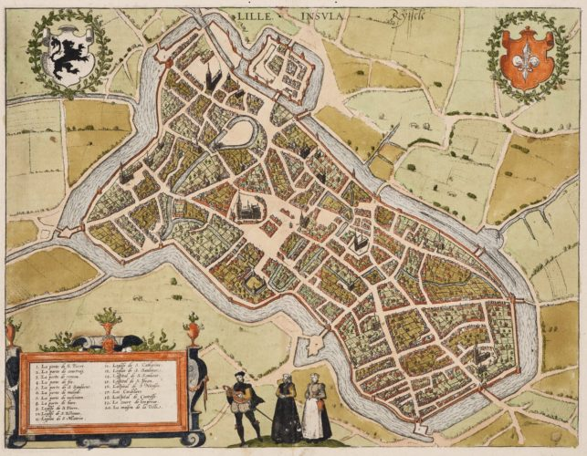 Old map of Lille by Braun and Hogenberg, 1581