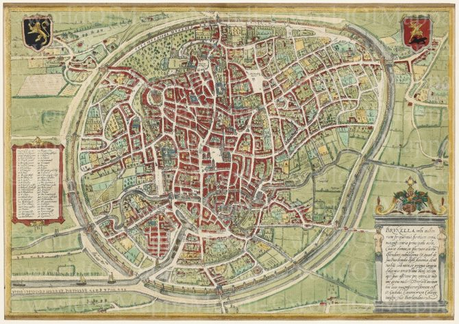 Old map of Brussels by Braun and Hogenberg, 1572