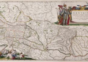 Old double folio map of the Danube River by Willem and Joan Blaeu