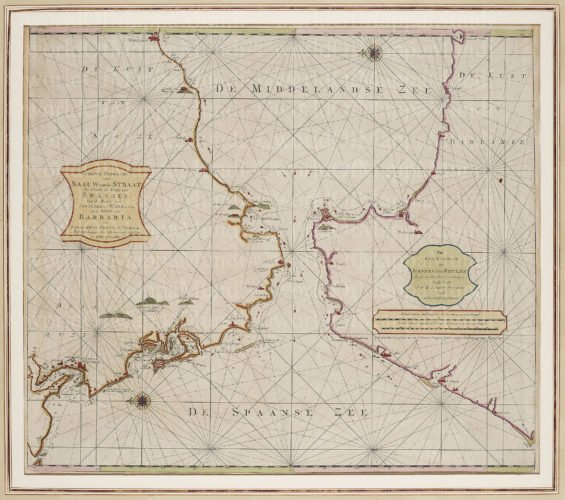 Old map of the Strait of Gibraltar by van Keulen, 1717