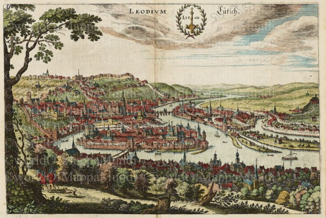 Old view of Liège by Matthias Merian, ca. 1650