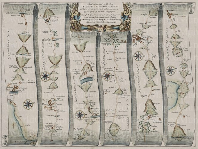 Old hiking map from Abingdon to St Davis (Wales), 1676