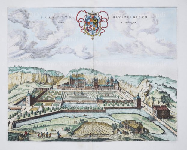 Old view Palace of Mansvelt by Blaeu 1649