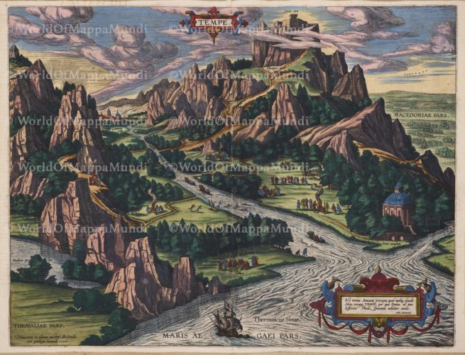 Old map of antique Tempe by Abraham Ortelius, 1609