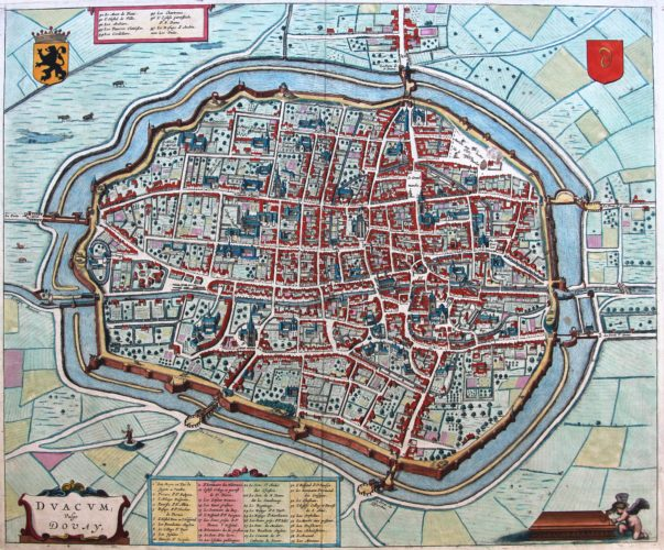 Old map of Douai by Joan Blaeu, ca. 1660