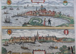 Double old view of Rotterdam and Gouda, by Braun and Hogenberg, 1581, Civitates Orbis Terrarum