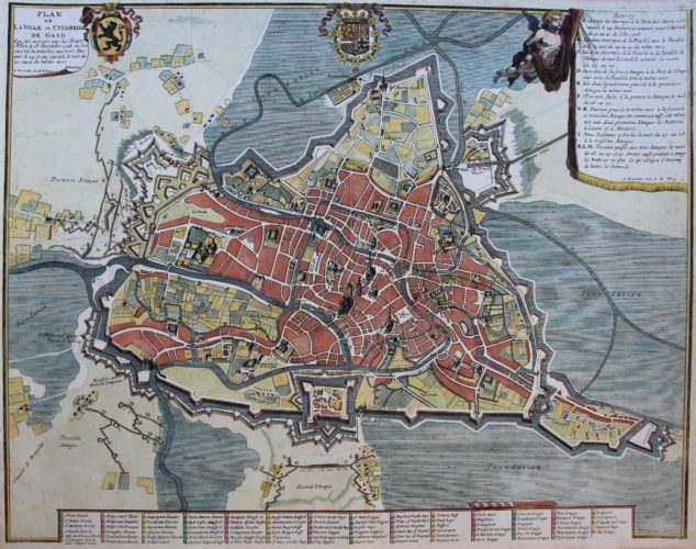 Old city map of Gent / Ghent (siege of he town in 1708) by Fricx, 1712