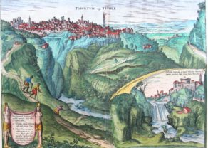 Old map of Tivoli by Braun and Hogenberg, 1575