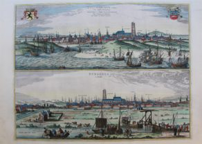 Old double view/map of Dunkirk by Braun and Hogenberg, 1652