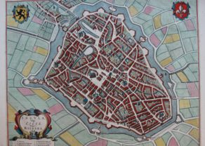Old town map of Lille by Joan Blaeu, 1649, 16666