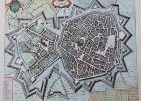 Old map of Arras or Atrecht (France), by Joan Blaeu, 1649