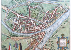 Old map of Namur by Braun and Hogenberg, 1599