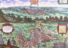 Old map of Verona by Braun and Hogenberg, 1581