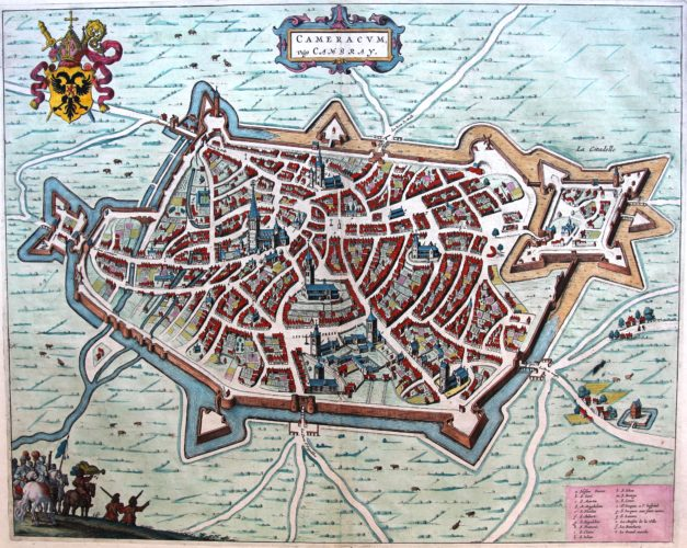 Old map of Cambrai by Joan Blaeu, 1649
