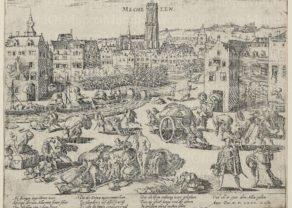 Hogenberg, old view Mechelen, Spanish Fury, Geschichtsblätter