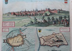 Old map of Bethune (France) by Joan Blaeu, 1649