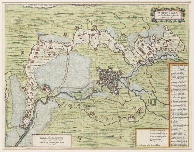 OLd map of Breda (siege in 1624-1625) by Blaeu 1649