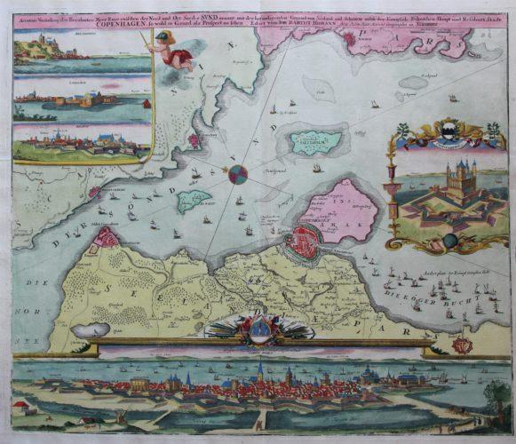 Old map of Copenhagen, Denmark, Oresund by Homann, ca. 1720