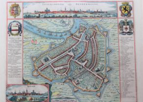 Old map of Dendermonde by Joan Blaeu, 1649