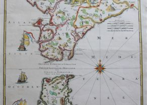 Old map of the Strait of Gibraltar by Homann Heirs (Weidler) after Petit, 1757
