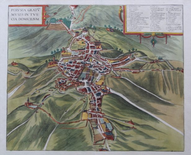 Old map of Perugia by Braun and Hogenberg, 1588