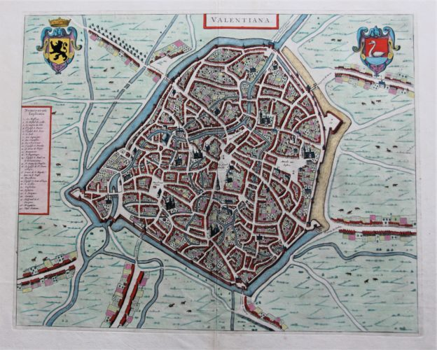 Old map of Valenciennes by Joan Blaeu, 1649, Town Atlas