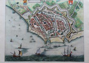 Old map of Vlissingen (Flushing) by Joan Blaeu, 1649