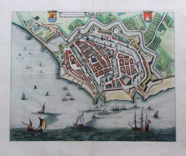 Old map of Vlissingen (Flushing) by Joan Blaeu, 1649