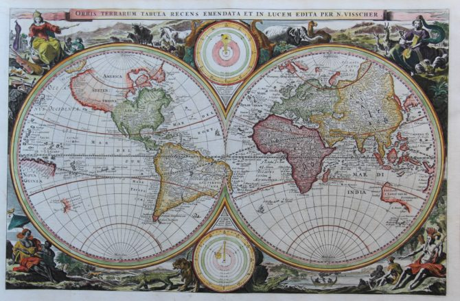Old map of the World by Visscher, 1665
