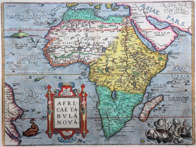 Old antique map of Africa by Abraham Otrelius (Theatrum Orbis Terrarum)
