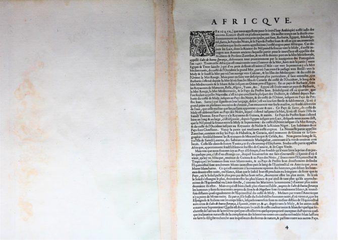 Back of old antique map of Africa by Abraham Ortelius (Theatrum Orbis Terrarum)