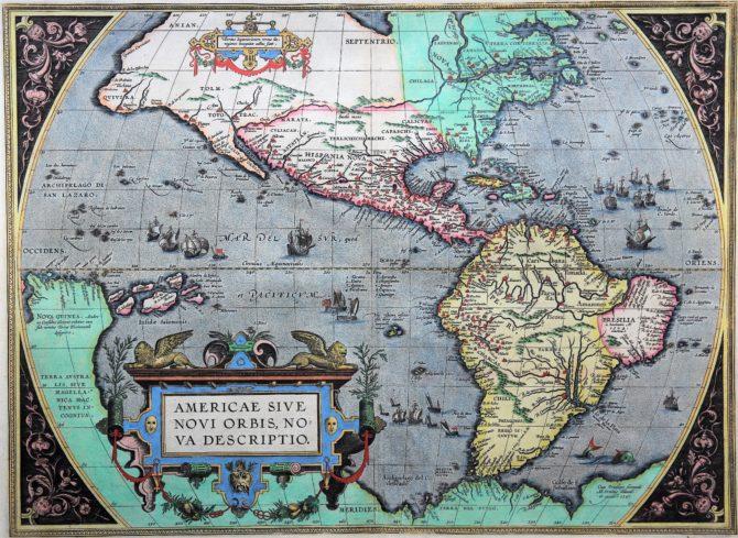 Old antique map of America by Abraham Ortelius (Theatrum Orbis Terrarum)