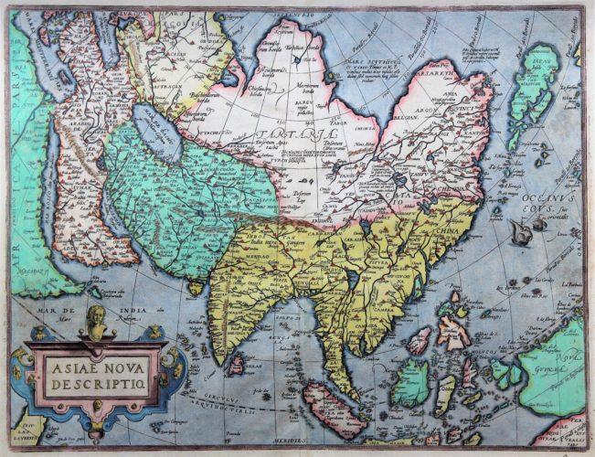 Old antique map of Asia by Abraham Ortelius (Theatrum Orbis Terrarum)