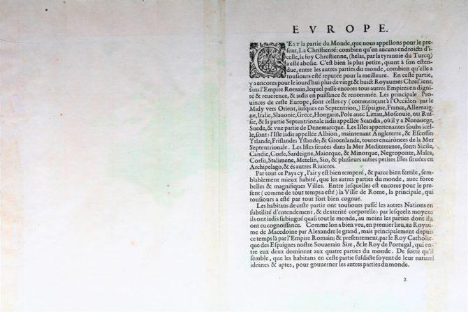 Back of old antique map of Europe by Abraham Ortelius (Theatrum Orbis Terrarum)