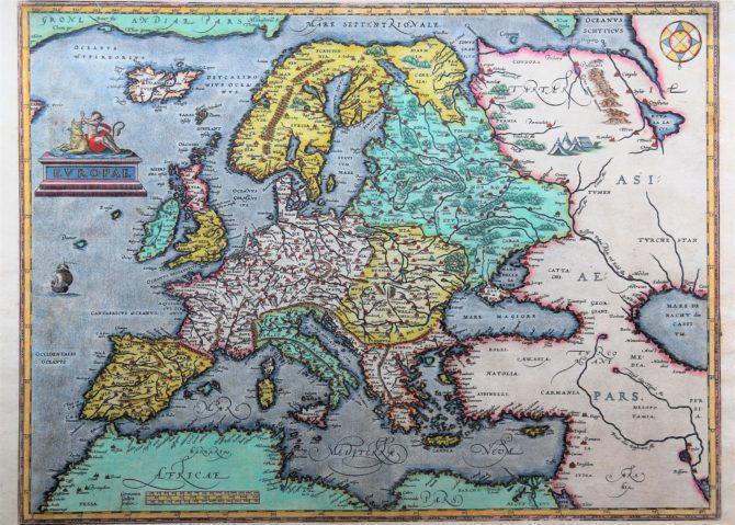 Old antique map of Europe by Abraham Ortelius (Theatrum Orbis Terrarum