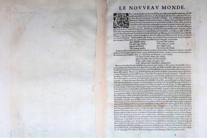 Back of world map by Abraham Ortelius (Theatrum Orbis Terrarum