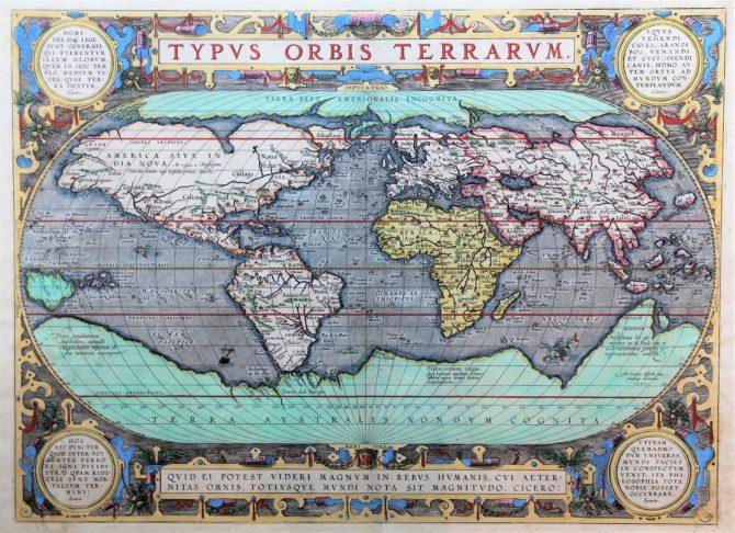 World map (Typus Orbis Terrarum) by Abraham Ortelius (Theatrum Orbis Terrarum